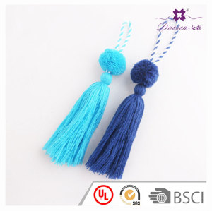 Hot sale Mexican craft blue yarn pom pom tassels keychain pendant bag handset hangs