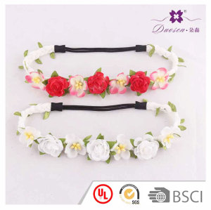 Hawaiian style white&pink roses braided elatic artificial flower headband