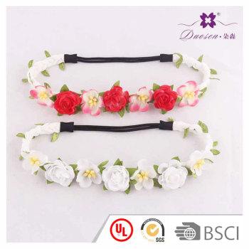 Hawaiian style whiteπnk roses braided elatic artificial flower headband