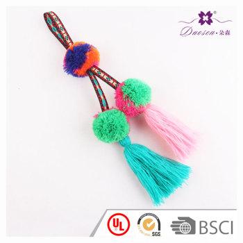 Mexican Boho Arts Pom Pom Key Chain Ornament For Women Beach Bag Girl Handbag