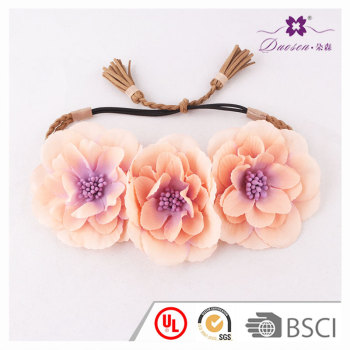Newest oversize sewing silk flower crown headpiece with tassel party accessory lady girls