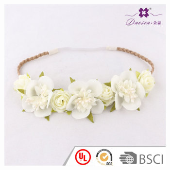 Wedding accessory crown white rose silk flower hairband with high quality