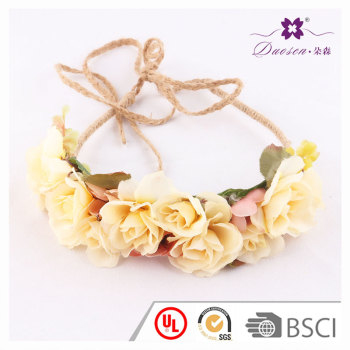 Yellow silk rose flower hairband crown adjustable tie band for women long braid hair