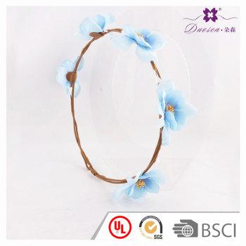Light blue head flower garland for girls artificial  flower headwear for bridesmaids crown grace