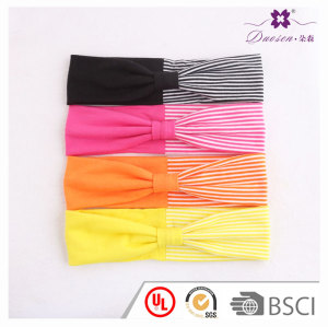 Youthful colors customized child striped splicing headband knot turban head wrap for teenagers