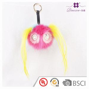 Novelty Girl Face Keychains Furry Pompom Ball Keyrings Gift Idea Faux Rabbit Fur Pom Pom Key ring Fo Bag Car Gift Decoration