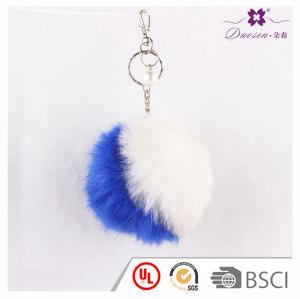 Women's Bag Double Color Splicing Pom Pom Keychain Handbag Furry Pom Pom Keyring Bag Charm Light-Up Faux Fur Pompom keychains for bag