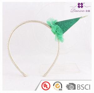 Best Green Christmas headbands Glitter Cover Mini Top Tree Hairband Santa Hat Head Band for Christmas Birthday Party