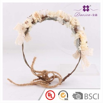 Adjustable artificial flower rattan head wreath cherry flower flower head crown for wedding bridal girls photo shoot spirng traval