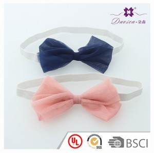 2017 Top Quality Baby Hair Accessories in Pink and Navy Color Chiffon Baby Bow Headband with Elastic for Baby Girl Photo Shooting for Mother and Baby