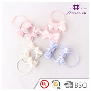 2017 New Design Good Quality Ribbon Knot Bow Ponytail Holder Hair Tie for Baby Girls