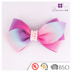 2017 New Design BSCI Audit Factory Ribbon Baby Bow Hair Clip for Baby Girl with Fake Pearl Hair Pin