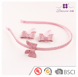 2017 Hotsell Good Quality Pink Glitter Bow Hair Accessories Set for Baby Girl Alice Band with Butterfly Glitter Bow Hair Clip
