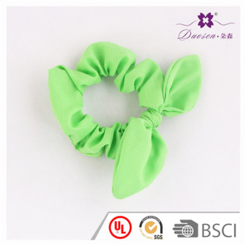 Newest Design BSCI Audit Factory Green Bunny Ears Hair Scrunchies Ponytail Holder for Women Hair Tie Bracelet