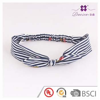 Wholesale Hair Accessories Manufacturer Cotton Stripe Print Korean Fashion Bunny Ears Headband with Elastic for baby girl