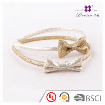 2017 Wholesale BSCI Audit Factory Gold Glitter Bow Alice Band For Baby Girl Hair Band for Teenager Girls