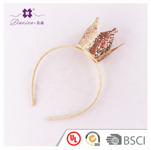 Wholesale Gold Glitter Princess Crown Hair Band for Kids Baby Alice Band Hair Accessories Manufacturer