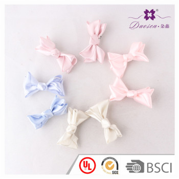 2017 Wholesale Handmade Satin Ribbon Bow Hair Clip in Pink in Blue in Cream for Baby Girl