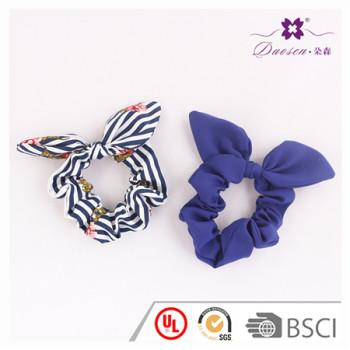 Wholesale Stripe Print Bunny Ears Hair Scrunchies Navy Hair Tie Bracelet for Women Ponytail Holder