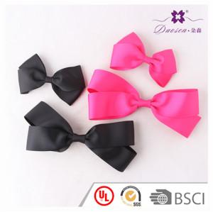 Custom Size Fuschia Hair Bow Black Grossgrain Ribbon Bow Hair Clip for Baby Girls