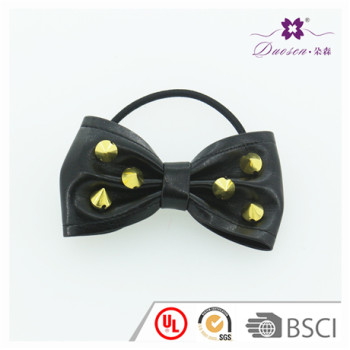 BSCI Audit Factory Hotsell Girls Wholesale Ponytail Holder Gold Studs PU Leather Bow Hair Tie Bracelet