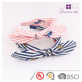 Factory Customize Newest Design Pink Stripe Print Ear Knot Bow Hair Band for Women