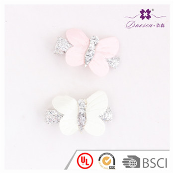 2017 Hotsell Factory Wholesale Pink Glitter Baby Butterfly Hair Clip For Girls