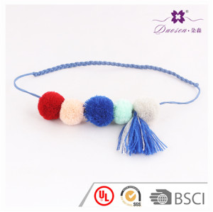 Hot Sale Imitation Suede Rope Tassel Necklace Jewelry Pom pom Necklace Manufacturer China