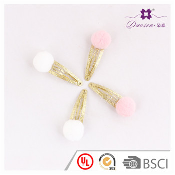 Pink Color Pompom Ball Baby Hair Clip Wholesale for Baby Girl
