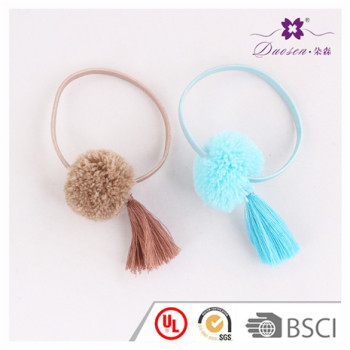 Fancy Design Blue Ponytail Holder with Yarn Tassels Pompom Hair Ties for Girls