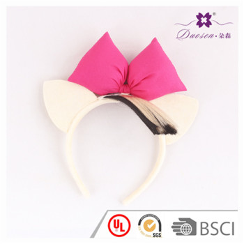 Custom Design Cream Cat Ears Alice Band with Fuschia Bow for Party Decoration