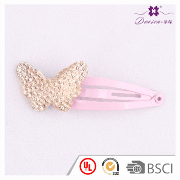 Hotsell Factory Wholesale Pink Glitter kids Butterfly Hair Clip For Girls in 2017