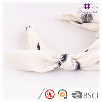 2017 Custom Chiffon Feather Print  Bunny Ear Hairband Wide Knot Bow Hair Band For Girls Cloth Matching