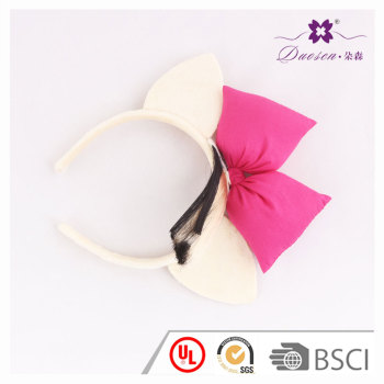 Festival  Design cream Cat Ear Alice Band with Fuschia Bow for party Decoration
