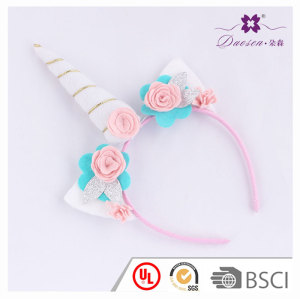 New Style Rose Flower Horn unicorn ears headband for gift birthday unicorn horn hair band funny
