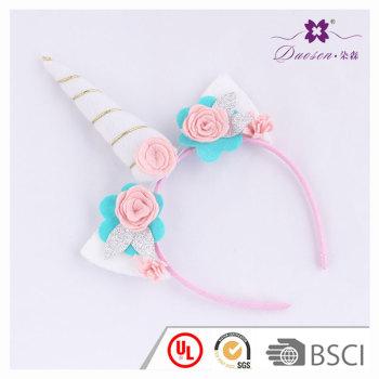 New Style Rose Flower Horn unicorn ears headband for gift birthday unicorn horn hair band funny