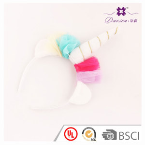 2017 Spring Red  Gauze Flower Horn unicorn ears headband  for girls