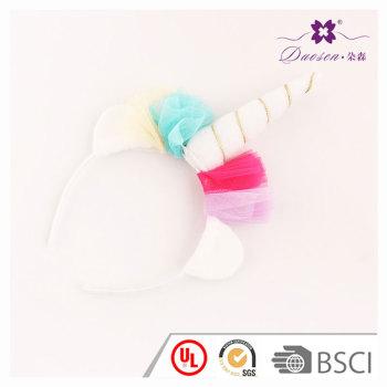 2017 Spring Red  Gauze Flower Horn unicorn ears headband  for girls