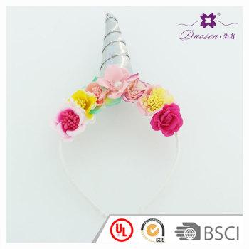 Silk Rose  Flower Horn Unicorn Headband for children Cosplay  Funny Horn Hair band