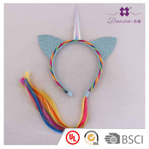 A Special Weave Braid Crown with Horn Unicorn Ears Hair Band for kids