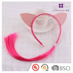 Red Wig Hair Band for Girls with Special Two Pink Cat's Ears Birthday Gift idea to kids