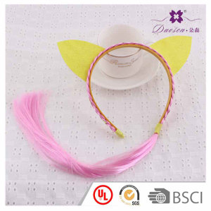 Pink Wig Hair Band for Girls with Fashion and Popular  Two Yellow  Cat's Ears Birthday Gift idea to kids