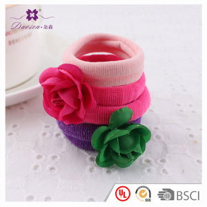Lovely color high elastic rose flower hair tie for girl baby kids