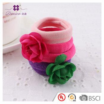 Lovely color high elastic rose flower hair tie for girl baby kids