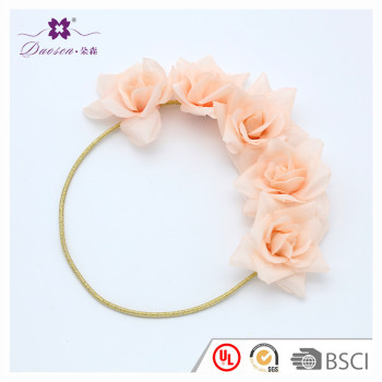 Manufacturer Decorative Birthday Party Baby Girls Big Rose Flower Headband Elastic Shiny Silver Gold Headband