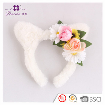 Fabric Flower Furry Cat Ears Headband Elegant Women Girl Hairband Hair Accessories