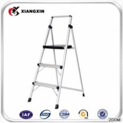 aluminium double side 3-tier foldable rubber feet step ladder
