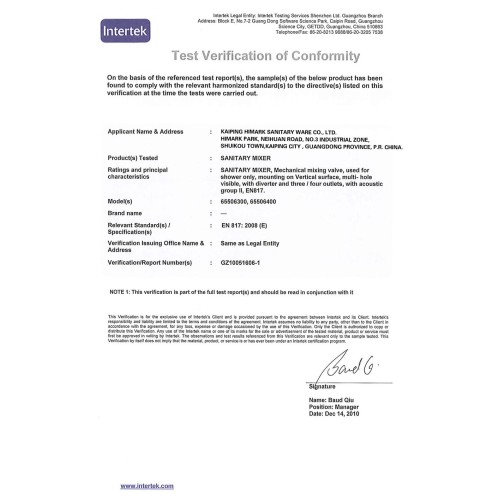 EN817 certification for Europe