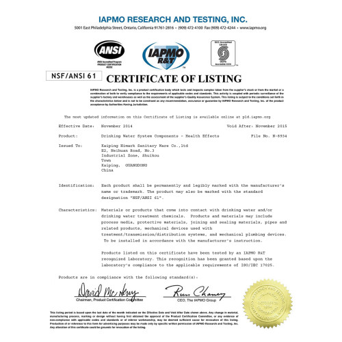 NSF/ANSI 61 certification for North Amercian