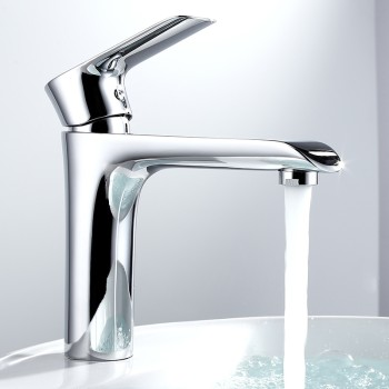 Modern chroem brass single-hole bathroom sink faucet